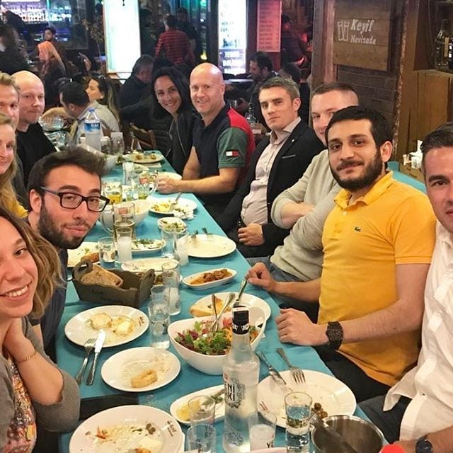 Having a traditional Turkish dinner with our guests from Malta.